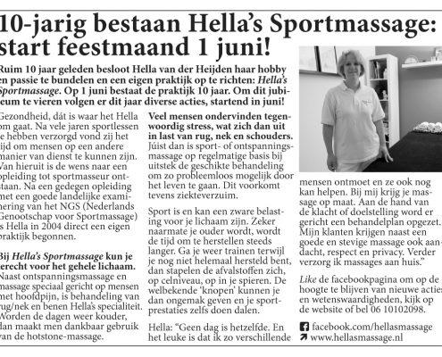 10-jarig bestaan Hella's Sportmassage